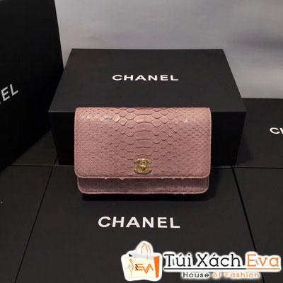 Túi Xách Chanel WOC Siêu Cấp Da Rắn Màu Hồng Khóa Vàng