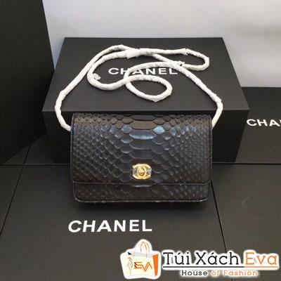 Túi Xách Chanel WOC Siêu Cấp Da Rắn Màu Đen Khóa Vàng