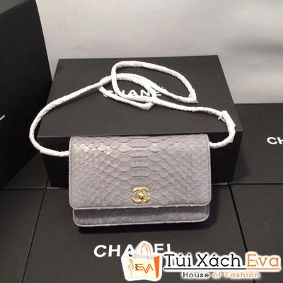 Túi Xách Chanel WOC Siêu Cấp Da Rắn Màu Xanh Coban Khóa Vàng
