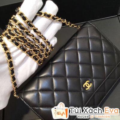 Túi Xách Chanel WOC Siêu Cấp Da Trơn Màu Đen Khóa Vàng