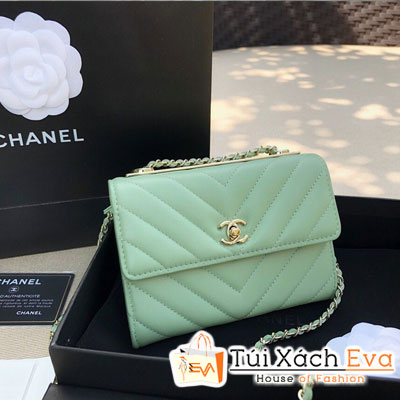 Túi Xách Chanel Woc Siêu Cấp Nẹp Kim Loại Vân V Màu Xanh Ngọc