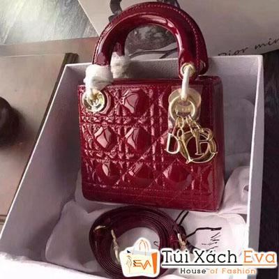 Túi Xách Dior Lady Mini Siêu Cấp Da Bóng Màu Đỏ Đô