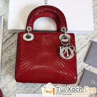 Túi Xách Dior Lady Mini Siêu Cấp Da Rắn Màu Đỏ Đẹp