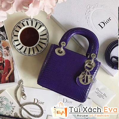 Túi Xách Dior Lady Mini Siêu Cấp Da Rắn Màu tím Đẹp