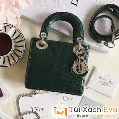 Túi Xách Dior Lady Mini Siêu Cấp Da Rắn Màu Xanh Rêu Đẹp