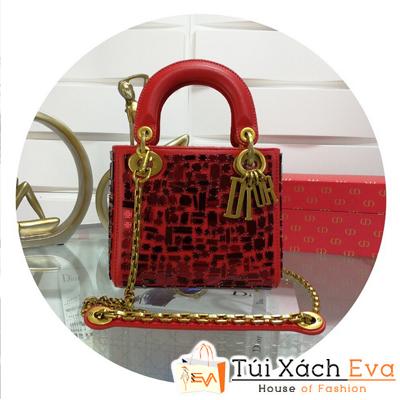 Túi Xách Dior Lady Mini Siêu Cấp Đính Đá Màu Đỏ