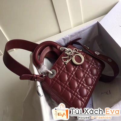 Túi Xách Dior Lady Siêu Cap Đính Phụ Kiện Màu Đỏ Đô