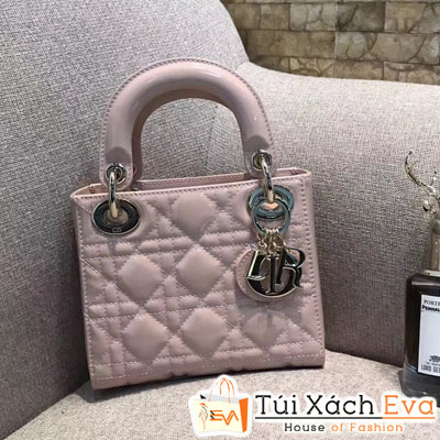Túi Xách  Dior Lady Siêu Cấp 3 Ô Màu Hồng Da Bóng