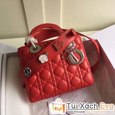 Túi Xách Dior Lady Siêu Cap Đính Phụ Kiện Màu Đỏ Tươi
