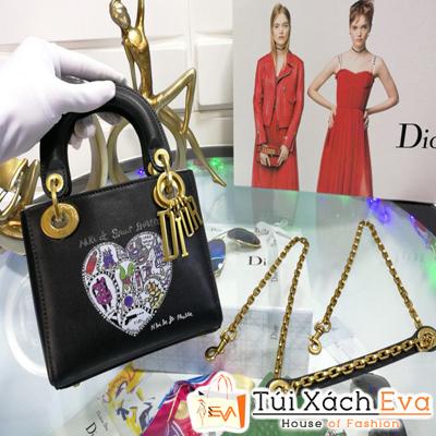 Túi Xách Dior Lady Siêu Cấp Màu Đen Khóa Vàng Đồng Size 24Cm