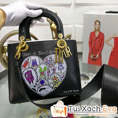 Túi Xách Dior Lady Siêu Cấp Màu Đen Khóa Vàng Đồng Size18Cm