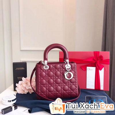 Túi Xách Dior Lady Siêu Cấp Màu Đỏ Khóa Bạc Đẹp