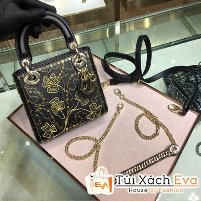 Túi Xách Dior Lady Siêu Cấp Thiêu Cỏ Ba Lá Màu Đen M0505