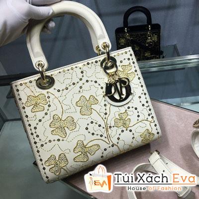 Túi Xách Dior Lady Siêu Cấp Thiêu Cỏ Ba Lá Màu Trắng M0505