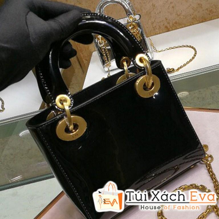 Túi Xách Dior Lady Super Da Bóng Màu Đen M0598