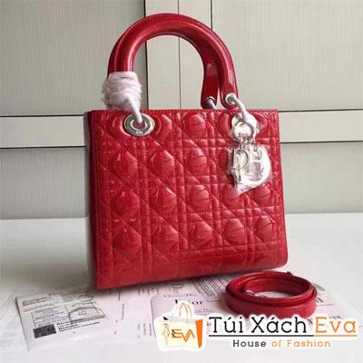 Túi Xách Dior Lady Super Khóa Bạc Màu Đỏ Đẹp