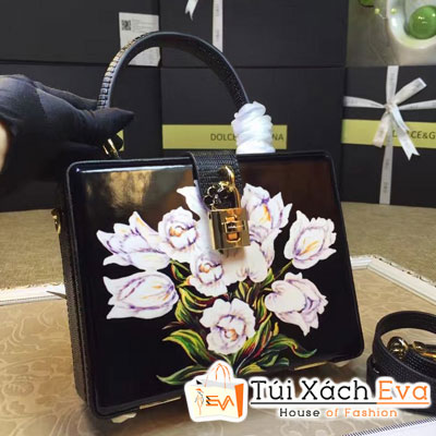 Túi Xách Dolce & Gabbana Siêu Cấp Dáng Hộp In Hoa Màu Đen Đẹp