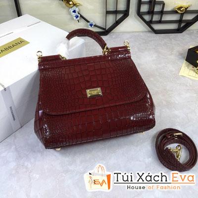 Túi Xách Dolce & Gabbana Super Da Cá Sấu Màu Đỏ Đô
