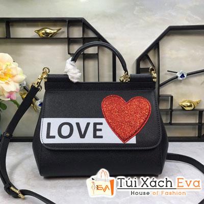 Túi Xách Dolce & Gabbana Super Màu Đen In Chữ Love Trái Tim