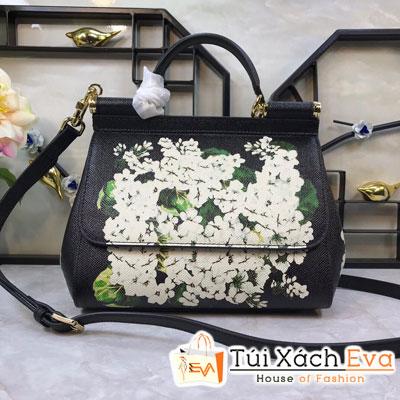 Túi Xách Dolce & Gabbana Super Màu Đen In Hoa Trắng