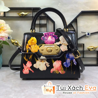 Túi Xách Dolce & Gabbana Super Màu Đen Một Quai Xách In Hoa