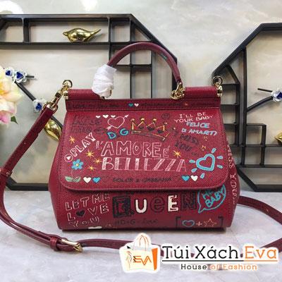 Túi Xách Dolce & Gabbana Super Màu Đỏ In Chữ