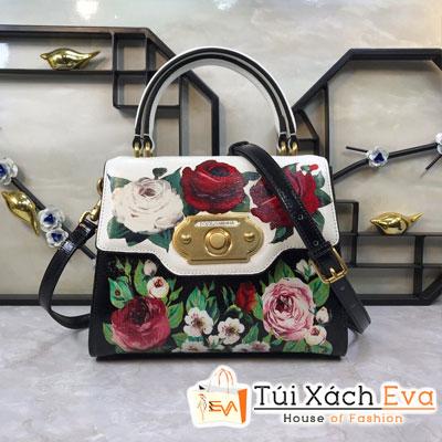 Túi Xách Dolce & Gabbana Super Màu Trắng Đen Một Quai Da In Hoa