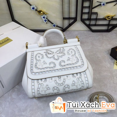 Túi Xách Dolce & Gabbana Super Màu Trắng Hoa Văn