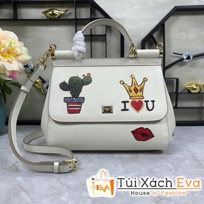Túi Xách Dolce & Gabbana Super Màu Trắng In Hình