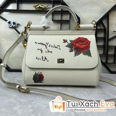 Túi Xách Dolce & Gabbana Super Màu Trắng In Hoa Hồng