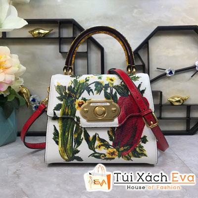Túi Xách Dolce & Gabbana Super Màu Trắng  Một Quai Da In Hình