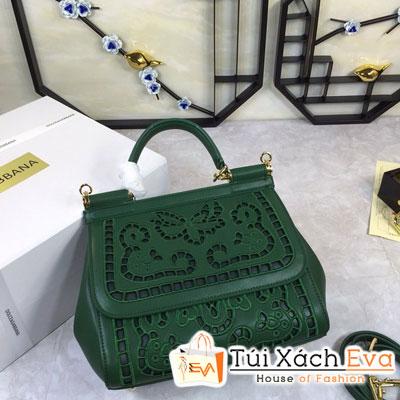 Túi Xách Dolce & Gabbana Super Màu Xanh Lá Hoa Văn