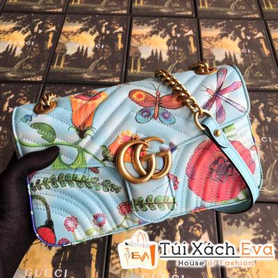 Túi Xách GG Marmont Small Matelassé Shoulder Bag Siêu Cấp In Hình Màu Xanh Dương Nhạt 443497