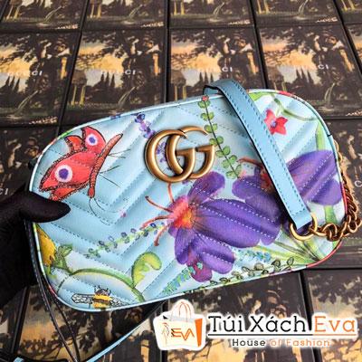 Túi Xách GG Marmont Velvet Small Shoulder Bag Siêu Cấp In Hình Màu Xanh Dương Nhạt 447632