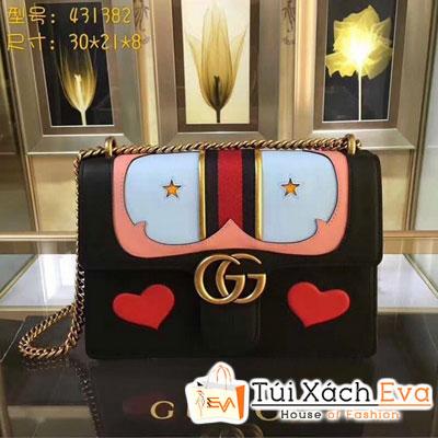 Túi Xách Gucci Gg Marmont Leather Shoulder Bag Màu Đen 431382