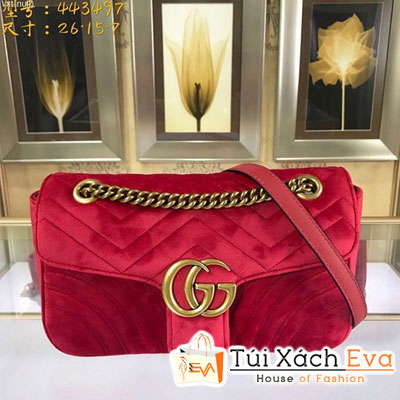 Túi Xách Gucci Gg Marmont Siêu Cấp Nhung Màu Đỏ