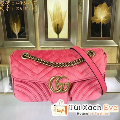 Túi Xách Gucci Gg Marmont Siêu Cấp Nhung Màu Hồng