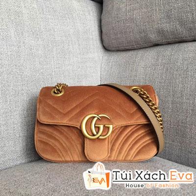 Túi Xách Gucci GG Marmont Velvet Mini Bag Nhung Siêu Cấp  Màu Nâu 446744