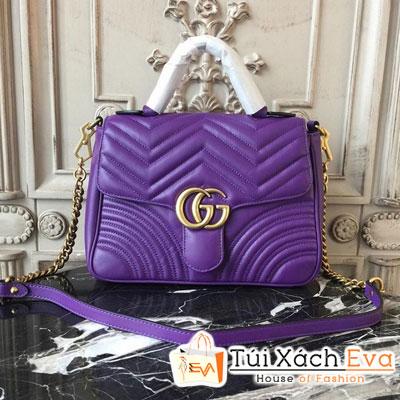 Túi Xách Gucci Marmont Chevron Siêu Cấp Một Quai Màu Tím
