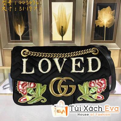 Túi Xách Gucci Marmont Nhung Siêu Cấp Màu Đen Thiêu Hoa