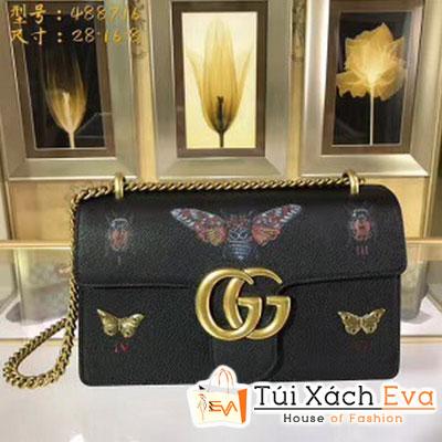 Túi Xách Gucci Marmont Siêu Cấp   In Hình Con Bướm Màu Đen