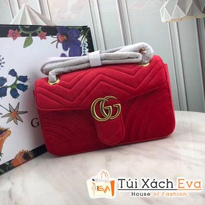 Túi Xách Gucci Marmont Siêu Cấp Logo Gucci Nhung Màu Đỏ