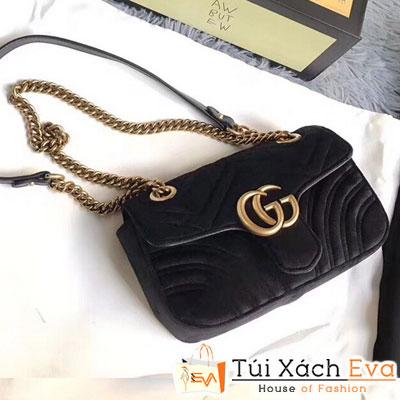 Túi Xách Gucci Marmont Siêu Cấp Màu Đen Logo Phủ Nhung