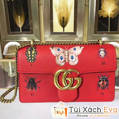 Túi Xách Gucci Marmont Siêu Cấp Màu Đỏ In Hình Bướm Đẹp
