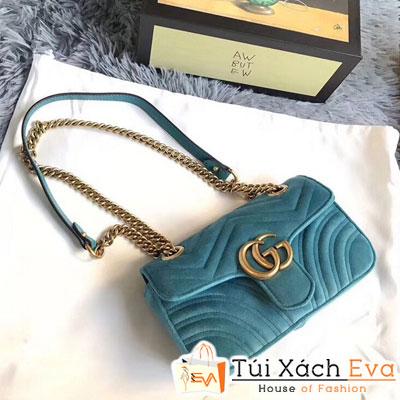 Túi Xách Gucci Marmont Siêu Cấp Màu Xanh Nhạt Logo Phủ Nhung