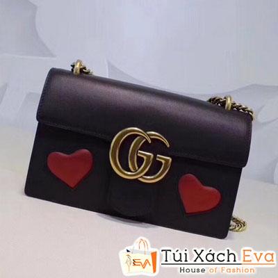 Túi Xách Gucci Marmont Siêu Cấp Nắp Gập Hình Trái Tim Màu Đen Đẹp