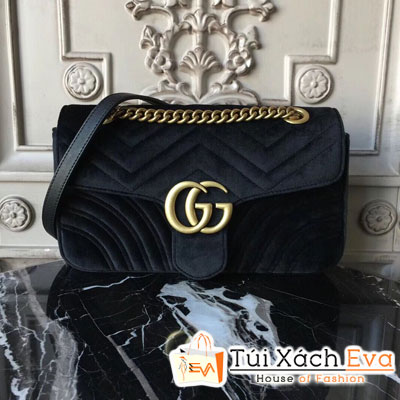 Túi Xách Gucci Marmont Siêu Cấp Nhung Màu Đen
