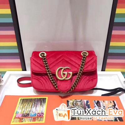 Túi Xách Gucci Marmont Siêu Cấp Nhung Màu Đỏ