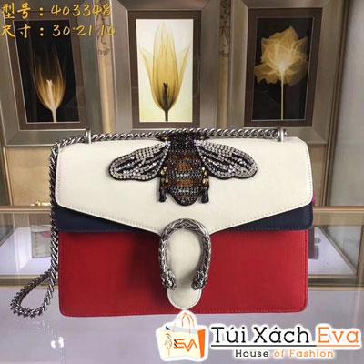 Túi Xách Gucci Ong Đá Siêu Cấp Màu Đỏ Khóa ĐÍnh Hạt Đẹp