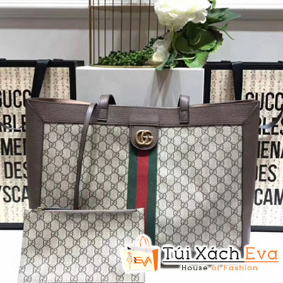 Túi Xách Gucci Ophidia GG Tote Siêu Cấp Hình Chữ Nhật Màu Nâu 547947